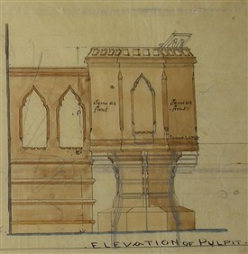 Photo:A Welland drawing for the pulpit which still remains in situ